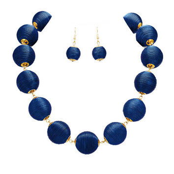Navy Blue & Gold Thread Ball Statement Necklace and Earring Set