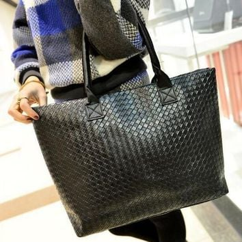 Large woven lattice leather tote bag / purse with double straps