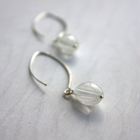 White long earrings glass - glass striped earrings - sterling silver - Murano glass