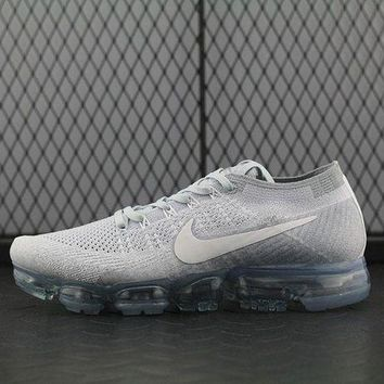 LMF8KY Nike Air Max Vapor Max Flyknit For Women Men Running Sport Casual Shoes Sneakers White