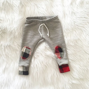 Plaid knee patch baby, toddler, gray skinny sweats