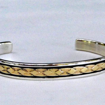 Men's Navajo Bracelet 14k Gold and Sterling Cuff Bracelet Signed Bruce Morgan