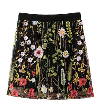 Black Embroidery Floral Elastic Waist Mesh Skirt
