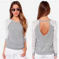 SIMPLE - Popular Fashionable Lace Slim Long Long Sleeve Round Necked T-shirt b2112