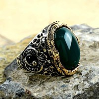 Green agate gemstone 925k sterling silver mens ring