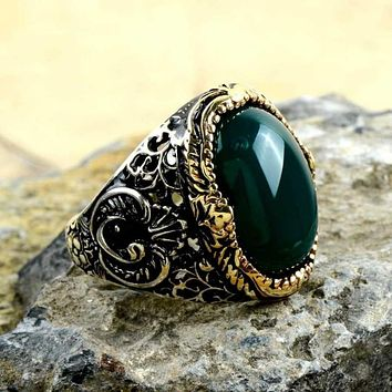 Green agate gemstone silver mens ring