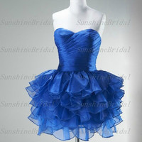 Real Ball gown Sweetheart Sleeveless Mini Organza Pleat Fashion Short Cocktail Dresses Party Dresses Formal Dresses 2014 New Arrival