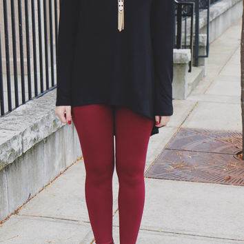 Essential Leggings - Burgundy