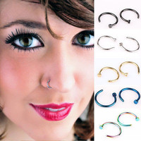 2PCS Stainless Steel Nose Open Hoop Ring Earring Body Piercing Studs Jewelry US