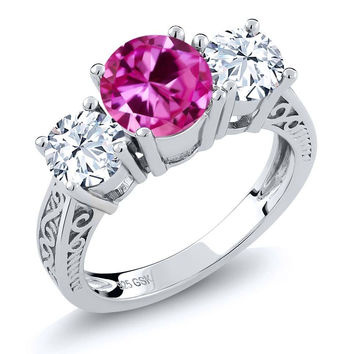 Round Pink Created Sapphire White Topaz 925 Sterling Silver 3-Stone Ring