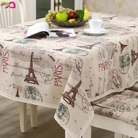 Dropship Eiffel tower Crown Retro Table Cloth Cotton Linen Fabric Grey Tableclothe Wedding Party Decoration Tables Cover