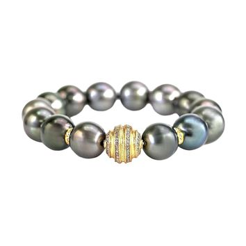 0.64ct Fancy Diamonds in 14K Yellow Gold & Tahitian Pearls Stretch Bracelet 6.5""