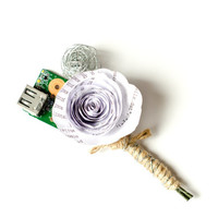 Computer Motherboard Boutonniere - Geek or Nerd Wedding - Paper & Wire Buttonhole - Flowers for Groom, Groomsmen, Bridesmaid, Wedding Party