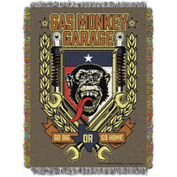 Gas Monkey Garage Tongue Swag Woven Tapestry Throw (48inx60in)