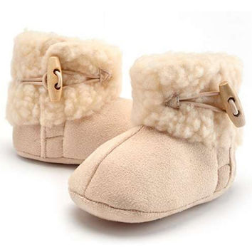 Newborn Infant Baby Girl Snow Boots Booties Kids Princess Round Toe Cotton White Lovely Warm Shoes Boot NW