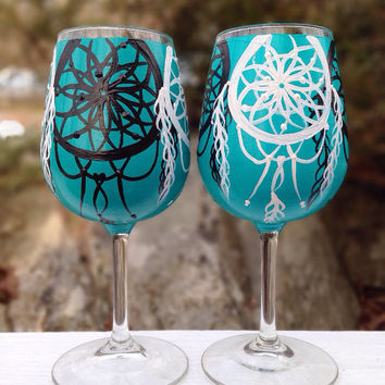 Hand painted dream catcher wine glasses (set of 2)