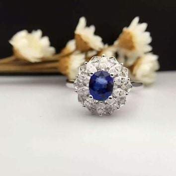 0.768ct+0.494ct 18K Gold Natural Sapphire Women Ring with Diamond Setting 2016 New Fine Jewelry Wedding Band Engagement