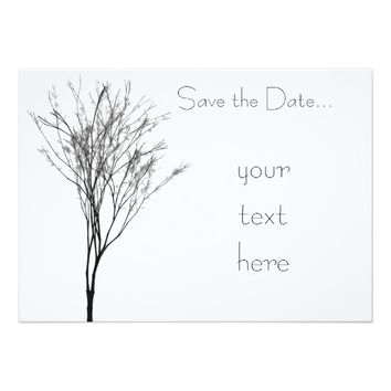 Elegant Black and White Tree Art 5x7 Paper Invitation Card