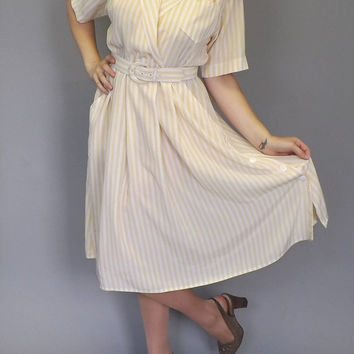 Vintage 80s does 50's Shirtwaist  Shift Day Tea Dress Yellow White Striped Sundress 1960s Mad Men Plaid Country Folk A-line Skirt Size Large