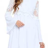 Talulah Lace Bell Sleeve Dress - White