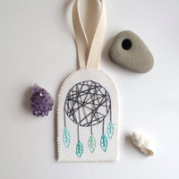 Modern dreamcatcher wall hanging or ornament hand embroidered geometric design with mint greens on organic muslin MADE TO ORDER