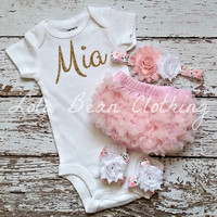 Baby Girl Take Home Outfit Newborn Baby Girl Custom Onesuit Bloomers Headband Sandals Set White Baby Pink