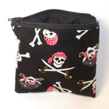Pirate change purse black pirate zipper pouch by redmorningstudios
