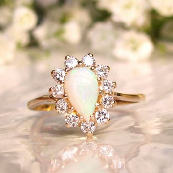 Vintage Pear Shaped Opal & Diamond Ring Alternative Engagement Ring 14K Yellow Gold October Birthstone Diamond Wedding Ring Bridal Jewelry!