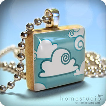 Mothers Day Sale Scrabble CUMULUS Blue White by HomeStudio