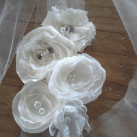 IVORY Tulle Bridal Headband, Wedding Hairband, Flower Hairpiece, Veil Alternative