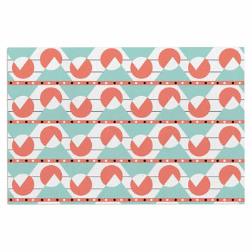"Stephanie Vaeth ""Geometric"" Teal Coral Decorative Door Mat"