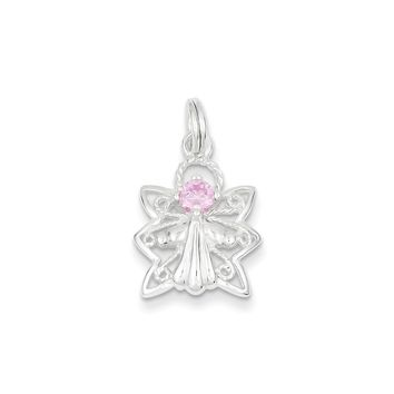 Sterling Silver Pink CZ Angel Charm