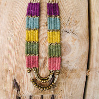 Woven Boho Necklace,Bead Hemp Necklace, Tribal Long Necklace,  Fiber Necklace, Woven  Multicolor Jute,  Antique Brass Beads, Fiber Jewelry