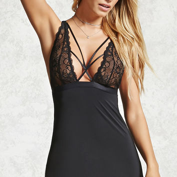 Caged Lace Slip Dress