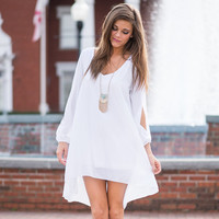 Summer Dress New Fashion Casual Women Cut Out Long Sleeve White Chiffon Dress Plus Size Loose Straight Mini Dress Vestidos