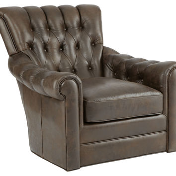 Alex Tufted Leather Swivel Chair, Brown, Club Chairs