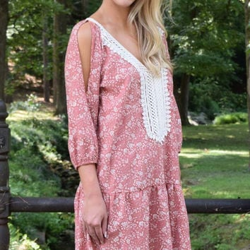 Fall Into You Open Shoulder Floral Drop Waist Dress – Pink Rose