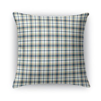 CORAL NAVY MINT BOAT PLAID Accent Pillow By Northern Whimsy