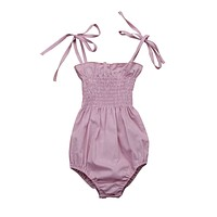 Toddler Infant Baby Girls Kids Clothing Outfit Bodysuit Sleeveless Belt Cute Jumpsuit Sunsuit Clothes Baby Girl 0-24M