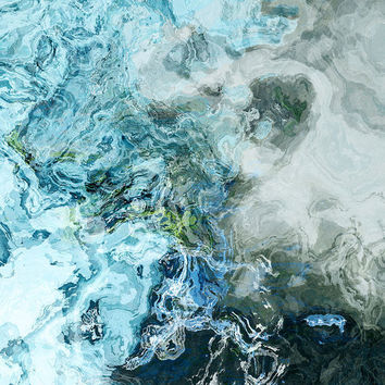 """Large art print on gallery wrap canvas, 30x30 in blue and sea-green, """"The Water is Wide"""""""