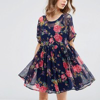 ASOS Smock Dress in Rose Print