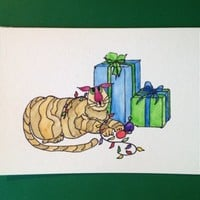 Christmas Card, Cats, Kitty Bargain#3, Original, Not a Reproduction