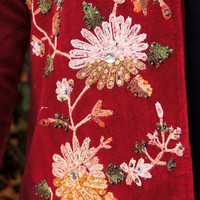 Red Velvet Embroidered Embellished Dress Jacket