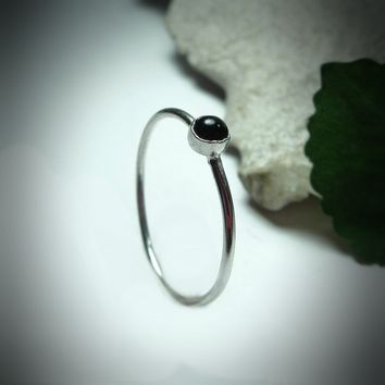 Stacking Ring Silver Onyx Gemstone
