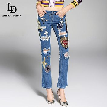 High Quality Jeans Runway Sequin Crystal Beading Flower Embroidery Designer Jeans