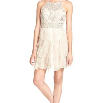 Junior Women's Steppin Out Embellished Halter Dress,