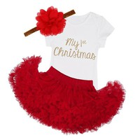 3PCS My 1st Christmas Romper & Red Tutu Skirt + Headgear Outfit Set Newborn