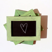 Set of 3 Shabby Lime Framed Chalkboards with Box by byAnnoDomini