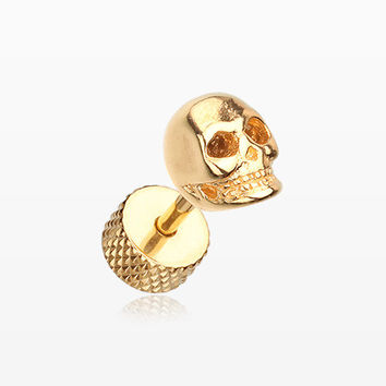 A Pair of Golden Death Skull Steel Fake Plug Earring