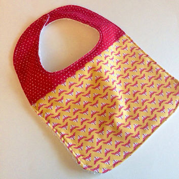 Baby bib,  Fox baby bib, Baby girl bib, fox bib, Baby girl baby bibs, Pink and yellow bib, Baby shower gift, Terry cloth backed baby bibs